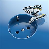 Blue socket with butterfly Stock Photo - Premium Royalty-Freenull, Code: 618-07524257