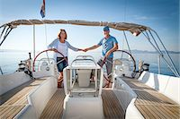 sailboat  ocean - Mature couple sailing together, Adriatic Sea, Croatia Stock Photo - Premium Royalty-Freenull, Code: 6115-07539689