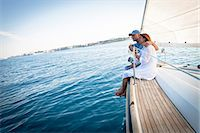 sailboat  ocean - Mature couple on sailboat, relaxing, Adriatic Sea, Croatia Stock Photo - Premium Royalty-Freenull, Code: 6115-07539699