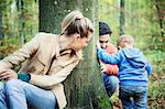Family with one child in a forest, Osijek, Croatia