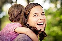 Mother and daughter in forest, having fun, Bavaria, Germany Stock Photo - Premium Royalty-Freenull, Code: 6115-07539806