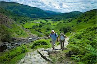 Tourists hill climbing on nature trail in lakeland countryside at Easedale in the Lake District National Park, Cumbria, UK Stock Photo - Premium Rights-Managednull, Code: 841-07540506