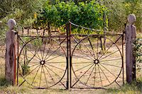 Farm gateway of wrought iron near Montalcino, Val D'Orcia, Tuscany, Italy Stock Photo - Premium Rights-Managednull, Code: 841-07540623