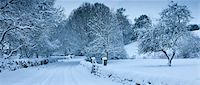 panoramic winter scene - Traditional snow scene in a country lane in The Cotswolds, Swinbrook, Oxfordshire, United Kingdom Stock Photo - Premium Rights-Managed, Artist: Robert Harding Images, Code: 841-07540740