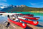 Red canoes for hire on Lake Louise, Banff National Park, UNESCO World Heritage Site, Alberta, The Rockies, Canada, North America Stock Photo - Premium Rights-Managed, Artist: Robert Harding Images, Code: 841-07540971