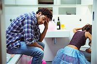 Drunk couple in bathroom at party Stock Photo - Premium Royalty-Freenull, Code: 6113-07542999