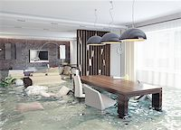 flooded homes - flooding in luxurious interior. 3d creative concept Stock Photo - Royalty-Freenull, Code: 400-07546658