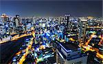 Panoramic view Osaka at night, Japan