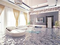 flooded homes - flooding in luxurious interior. 3d creative concept Stock Photo - Royalty-Freenull, Code: 400-07553732