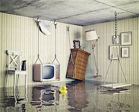 flooded homes - ordinary life in the flooded flat. 3d concept Stock Photo - Royalty-Freenull, Code: 400-07553741