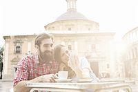 Young couple having coffee in sidewalk cafe, Plaza de la Virgen, Valencia, Spain Stock Photo - Premium Royalty-Freenull, Code: 649-07560108
