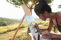 Young female artist painting landscape, Buonconvento, Tuscany, Italy Stock Photo - Premium Royalty-Free, Artist: AWL Images, Code: 649-07560239