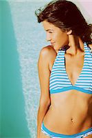 Young Woman Wearing Striped Bikini Stock Photo - Premium Rights-Managednull, Code: 822-07562723