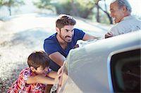 pushing - Multi-generation men pushing car at roadside Stock Photo - Premium Royalty-Freenull, Code: 6113-07564940