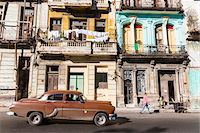 Vintage car in front of historic architecture, Havana, Cuba Stock Photo - Premium Rights-Managednull, Code: 700-07567422