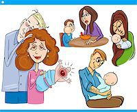 Cartoon Illustration Set of Parents with Children and Babies Stock Photo - Royalty-Freenull, Code: 400-07573391
