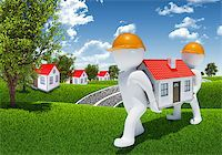 Two 3d human carry small white house. Houses and forest as backdrop Stock Photo - Royalty-Freenull, Code: 400-07574937