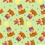 Seamless background with cartoon bears.Vector illustration.
