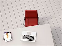 red chair - Digital Illustration of Overhead View of Desk with Red Chair, Laptop and Books Stock Photo - Premium Royalty-Freenull, Code: 600-07584840