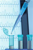 results - Genetic research. Micropipette filling eppendorf microcentrifuge tubes, commonly used in biochemical and biological research. Laptop screen that displays results of automated DNA sequencing Stock Photo - Premium Royalty-Freenull, Code: 649-07585399