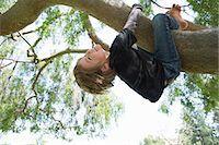 Upside down boy wrapped around tree branch Stock Photo - Premium Royalty-Freenull, Code: 614-07587697