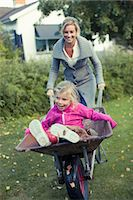 Playful mother pushing daughter on wheelbarrow at yard Stock Photo - Premium Royalty-Freenull, Code: 698-07587879
