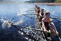 sport rowing teamwork - Rowing team rowing scull on lake Stock Photo - Premium Royalty-Freenull, Code: 6113-07588674