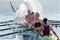 sport rowing teamwork - Rowing team splashing and celebrating in scull on lake Stock Photo - Premium Royalty-Freenull, Code: 6113-07588753