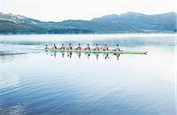 sport rowing teamwork - Rowing team rowing scull on lake Stock Photo - Premium Royalty-Freenull, Code: 6113-07588761