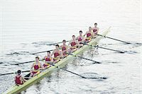 sport rowing teamwork - Rowing team rowing scull on lake Stock Photo - Premium Royalty-Freenull, Code: 6113-07588805