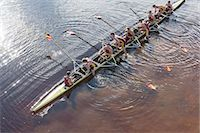 sport rowing teamwork - Rowing team in scull on lake Stock Photo - Premium Royalty-Freenull, Code: 6113-07588809