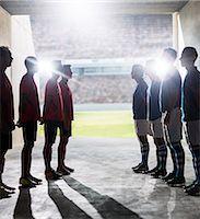 footballeur - Silhouette of soccer teams greeting in locker room Stock Photo - Premium Royalty-Freenull, Code: 6113-07588832