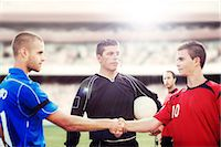 footballeur - Soccer players shaking hands on field Stock Photo - Premium Royalty-Freenull, Code: 6113-07588841