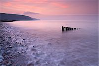scenic view - High tide at Bossington Beach at sunset, Exmoor, Somerset, England, United Kingdom, Europe Stock Photo - Premium Rights-Managednull, Code: 841-07590317