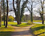 Forked Path in Park Schonbusch in Spring, Aschaffenburg, Spessart, Lower Franconia, Bavaria, Germany
