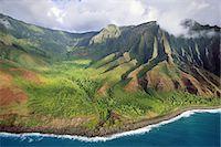 extreme terrain - Na Pali coast (aerial), Kauai, Hawaii Stock Photo - Premium Rights-Managednull, Code: 878-07591241