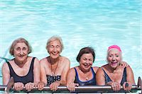 Portrait of four senior women in swimming pool Stock Photo - Premium Royalty-Freenull, Code: 649-07596669