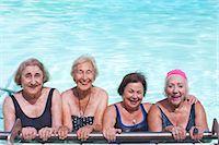 seniors and swim cap - Portrait of four senior women in swimming pool Stock Photo - Premium Royalty-Freenull, Code: 649-07596669