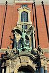 Close-up of statue of Archangel Michael over portal at St Michaelis Church, Hamburg, Germany