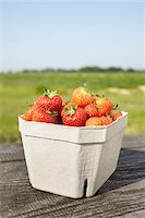 strawberries - Close-up of freshly picked strawberries in box container on table outdoors, Germany Stock Photo - Premium Royalty-Freenull, Code: 600-07600009