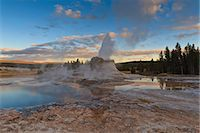 Castle Geyser at sunset, Upper Geyser Basin, Yellowstone National Park, UNESCO World Heritage Site, Wyoming, United States of America, North America Stock Photo - Premium Rights-Managednull, Code: 841-07600126