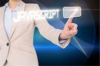 selecting - Businesswomans finger touching javascript button Stock Photo - Premium Royalty-Freenull, Code: 6109-07601726