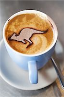 Australia Day Coffee with Kangaroo on the Froth Stock Photo - Premium Royalty-Freenull, Code: 6106-07601825