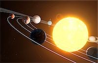 Solar system, computer artwork. Stock Photo - Premium Royalty-Freenull, Code: 679-07603295