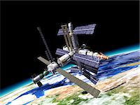 Space station in Earth orbit, artwork. Stock Photo - Premium Royalty-Freenull, Code: 679-07607682