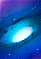 A white hole is a theoretical solution to Einstein's field equations - a region which cannot be entered at all from the outside. In a sense, therefore, they are the time-reversed opposites of black holes. The theory suggests that a black hole is connected to a white hole via a tunnel called an Einstein-Rosen bridge (wormhole). Matter falls into the black hole and is expelled via the white one. Som Stock Photo - Premium Royalty-Freenull, Code: 679-07607940