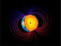 Artwork of the earth's core and magnetosphere. Stock Photo - Premium Royalty-Freenull, Code: 679-07607967