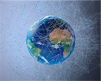 Artwork of the earth, communication network concept. Stock Photo - Premium Royalty-Freenull, Code: 679-07607988