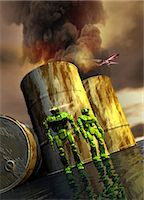 futuristic - Artwork of military robots and oil drums, conflict concept. Stock Photo - Premium Royalty-Freenull, Code: 679-07608141