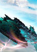 spaceship - Artwork of futuristic spacecraft. Stock Photo - Premium Royalty-Freenull, Code: 679-07608164